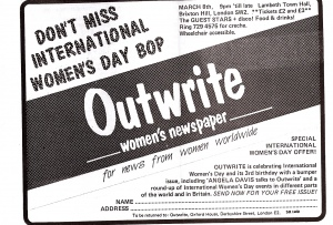 An ad from Spare Rib. 'Don't miss International Women's Day bop.' A benefit event for 'Outwrite women's newspaper. For news from women worldwide' featuring the Guest Stars.