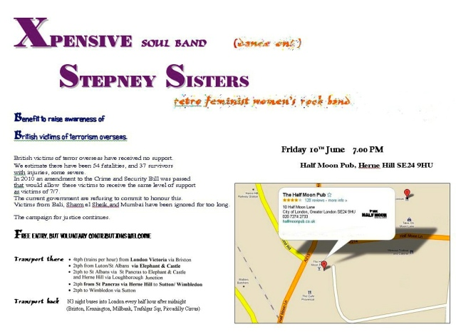 A flyer for a reunion gig by the Stepney Sisters, featuring also the band Xpensive, to raise funds for British victims of terrorism overseas.