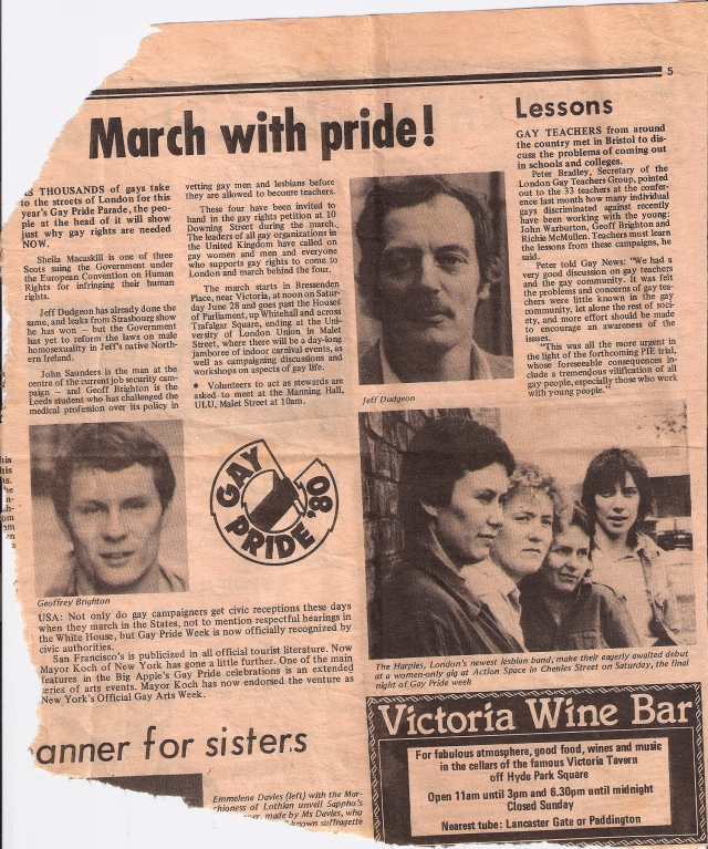 A torn fragment from a page of Gay News with announcement of The Harpies gig. 'London's newest lesbian band make their eagerly awaited debut at a women only gig at Action Space on Saturday, the final night of Gay Pride events.' Photo of the heads of the four members.