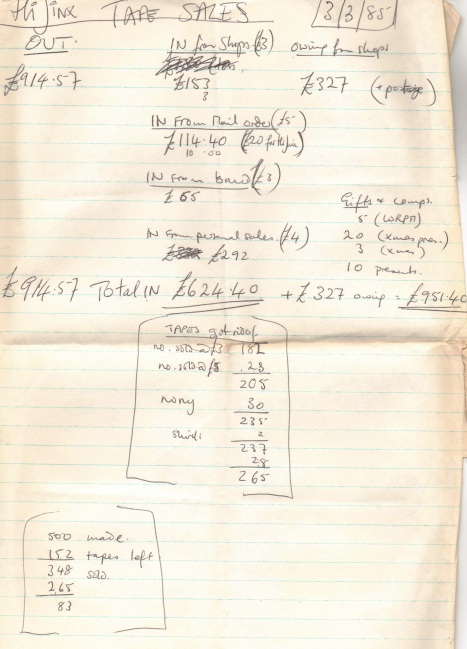 Handwritten A4 sheet detailing the number of tapes sold of the Hi-Jinx album and where from (shops, the band, mail order and personal sales). The total out is £914. 57, the total in is £624.40, the total owed from shops is £327. Dated 3/3/85