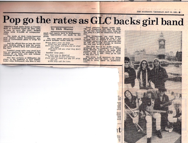 Headlined 'Pop go the rates as GLC backs girl band,' the right-wing daily London paper reports on how the band Hi Jinx has produced a record called 'Streamlining' to protest the Tory government's abolition of the Greater London Council. 'We felt as Londoners our right to vote was being taken away. The song is a plea for democracy.' The article is illustrated with a photo of the band with their instruments on the South Bank, the Thames and Houses of Parliament in the background.