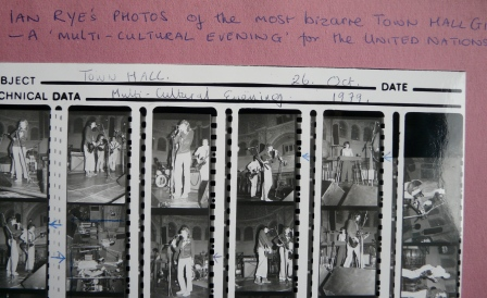 Contact sheet of images of the Mistakes performing at the Town Hall for a Multi-Cultural Evening', taken from Mavis Bayton's scrapbook