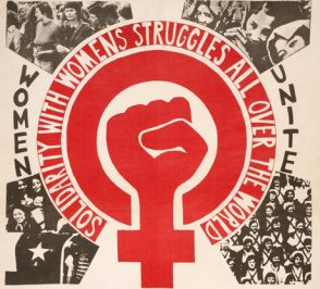 Around a large WLM clenched fist symbol in red are the words 'solidarity with women's struggles all over the world' and 'Women Unite.' Radiating out around the symbol are pictures of crowds of women demonstrating and marching.
