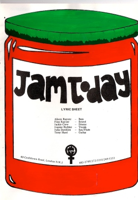 Front cover of lyrics booklet, Jam Today logo of red jam jar, label listing line-up names including Jo Richler, and a women's liberation clenched fist symbol.