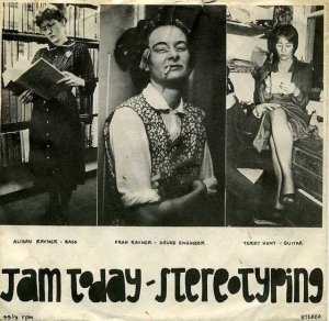 Front cover of the E.P. record, Stereotyping, uses 3 posed photos of band members dressed as stereotypes: librarian, char lady, secretary.