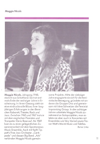 Programme page for Maggie Nicols, in German. Image of her singing.