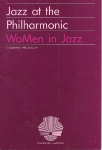 Jazz at the Kolner Philharmonic 1989 programme cover. Purple cover with pink text: 'WoMen (sic) in Jazz.'.