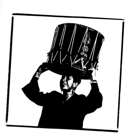 Illustration for Josefina's CD shows her holding large Rajasthani drum on her head and smiling.