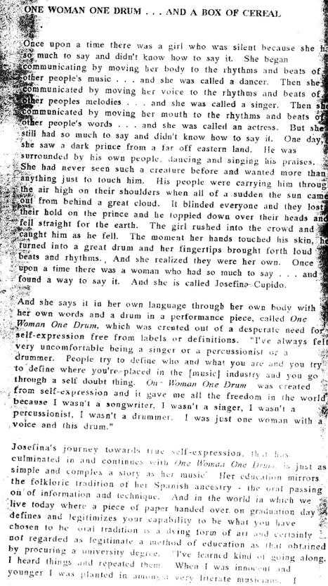 article about Josefina's CV by Jackie Sawaris