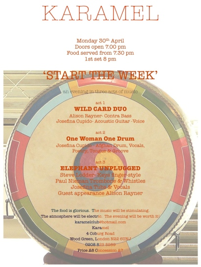 Josefina is performing at the Karamel Club on Monday 30th April 2012, 7pm. 4 Coburg Rd, London N226UNJ. £8/7. 3 musical acts: Wild Card Duo, One Woman One Drum, and Elephant Unplugged. A poster of a clock face with a yin-yang symbol at its centre.