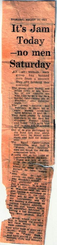 Headlined 'It's Jam Today - no men Saturday,' a faded clipping from a London evening paper typifying complaints about women only events being sexist. Item says 'The Equal Opportunities Commission' says they 'do not break the sex discrimination laws.'