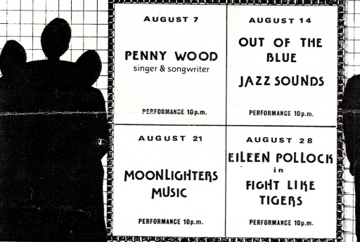 Advertisement for London Lesbian And Gay Centre women's gigs, including Out of the Blue. Black silhouetted women's shapes on white background.
