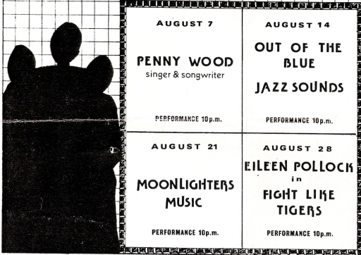 Black and white flier featuring Penny Wood, Out of the Blue, Jazz Sounds, Moonlighters Music, Eileen Pollock and Fight Like Tigers. Illustrated by black silhouettes of three women.