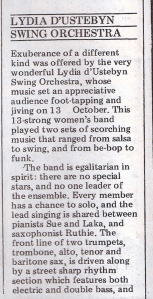 'Thirteen-strong women's band played two sets of scorching music, from salsa to swing, bebop to funk.' Review by Caroline Gilfillan.