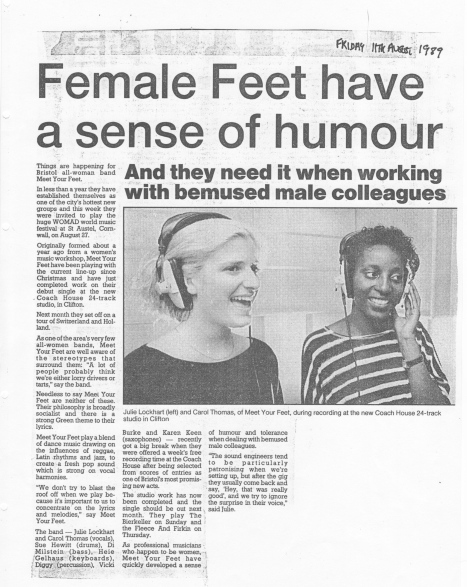 1989 article headed 'Female Feet have  sense of humour, with photo of two singers in recording studio wearing headphones. Quotes them as saying they have to have a sense of humour and tolerance when dealing with bemused men, particularly sound technicians.