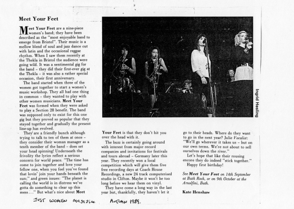 A 1989 article on Meet Your Feet in Just Women magazine, illustrated with a black and white photo of them performing,reviewing their first anniversary gig, describing the audience going wild.