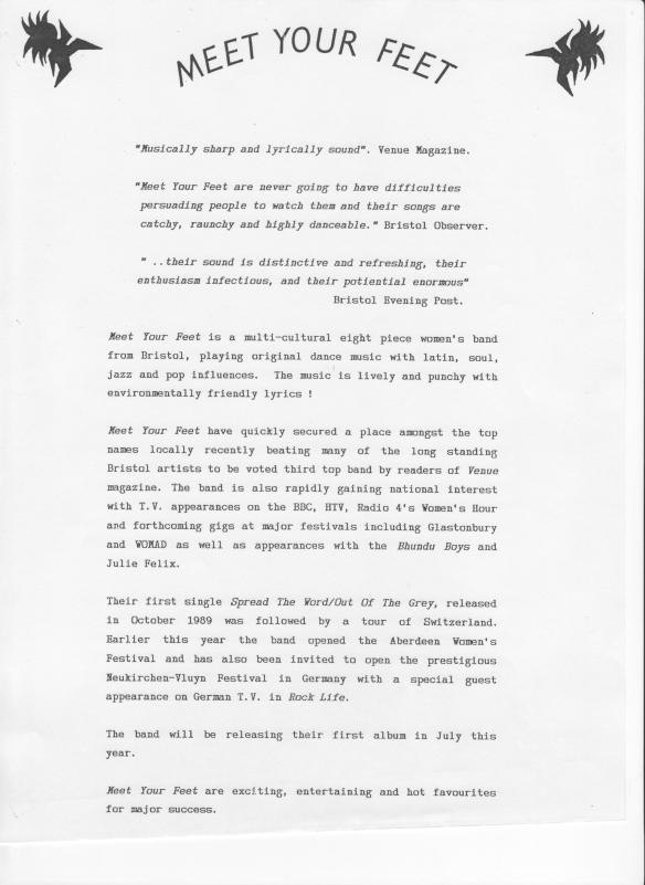 The band's own publicity press release describing the 'multi-cultural eight-piece' group  playing 'lively and punchy environmentally-friendly lyrics.' Quotes from local press say the band has quickly become well known on local Bristol scene.