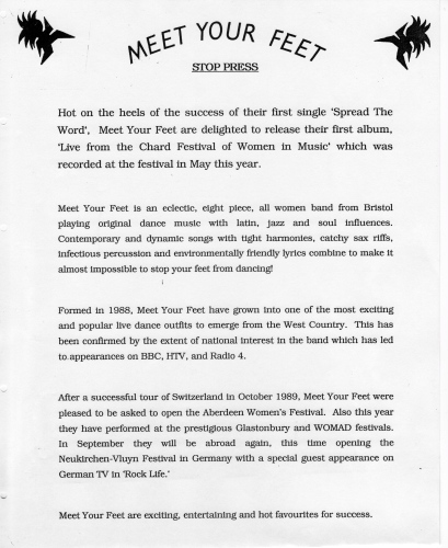 Meet Your Feet press release 1990 announces the release of their first album, recorded live at Chard Festival of Women in Music.