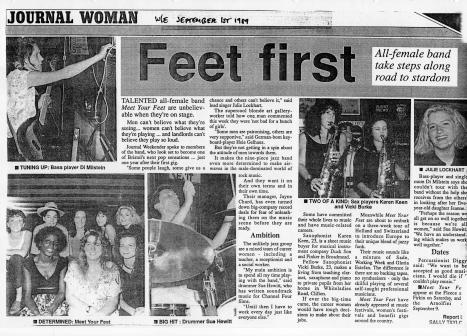 1989 article in Bristol Evening Post with interviews with the musicians and their photos, headed 'Feet first', praising the band..