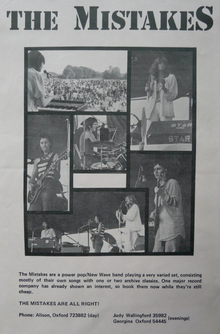 Black and white advert for The Mistakes, asking for gigs. Image of the band performing. 'Book them now while they're still cheap'!