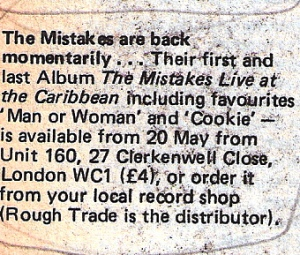 Information notice in Spare Rib about the release of the last Mistakes album, 'Live at the Caribbean.'