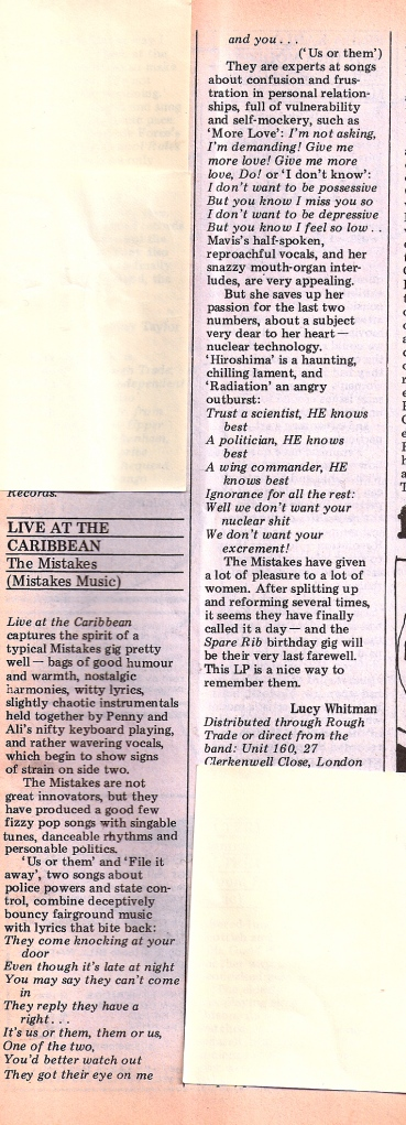 Spare Rib review for the live album 'Live at the Caribbean.' by Lucy Whitman