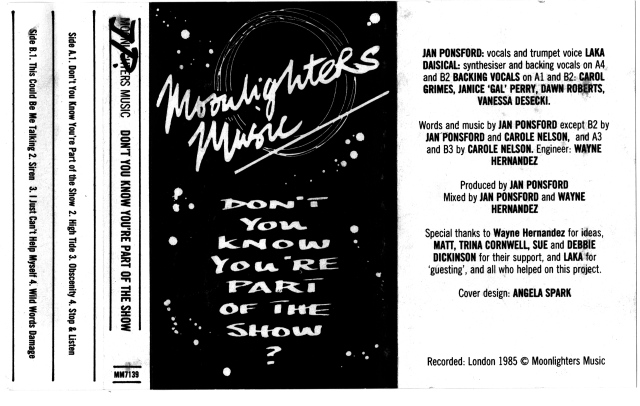 Black and white cover for Moonlighters Music album 'Don't You Know You're Part of the Show?' White dots design on black background. Recorded London 1985.