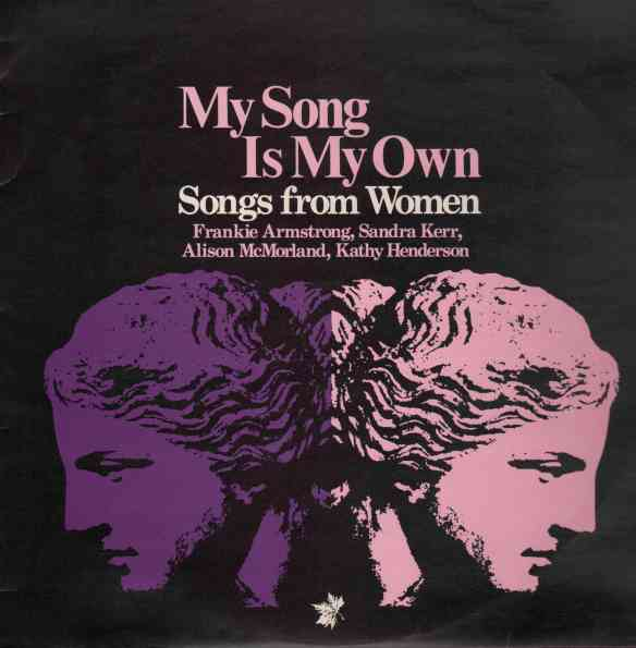Black background, pink lettering 'My Song is My Own, Songs from Women.' Two ancient statue heads facing toward left and right.