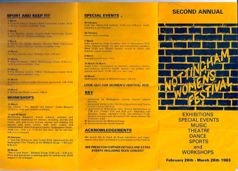 Front page of programme for Nottingham Women's Festival 1983 with title written graffiti-style against brick wall. Lists music, theatre, sports workshops on e.g. porn, and a rally for IWD including speaker Jo Richardson, followed by a march.