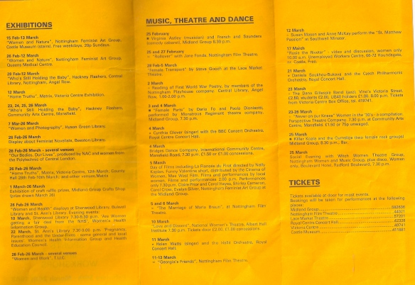 Second page of programme lists films, e.g., Rosie the Riveter', theatre, exhibitions of art, Hackney Flashers women photographers, health issues and dance.