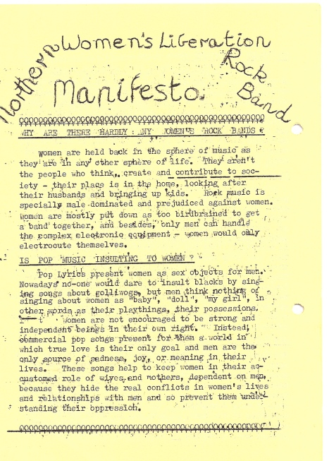 The title is handwritten and the rest of the manifesto and song lyrics typed, with women's symbols decorating the booklet. Song titles are 'Equal Pay Blues,'  'I Ain't Gonna Marry,'  'Invisible,' 'Matriarchy,' 'Blue Blood Blues,' ' Keep On Trucking', and 'The Male Chauvinist Oink.'