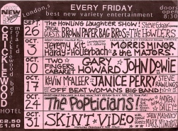 Handwritten, crowded black and pink flier, listing all the acts taking place at Cricklewood, featuring Offbeat Women's Big Band, Janice Perry, John Dowie, Skint Video.