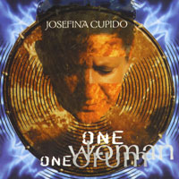 cover of Josefina's CD One Woman One drum shows her face superimposed on a drumhead