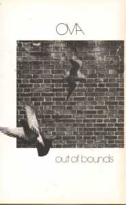 'Ova. Out of Bounds' Image of brick wall and two doves flying in front of it.