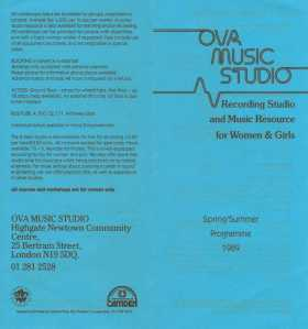 Blue background, black letters, Ova Music Studio, resource for women and girls.