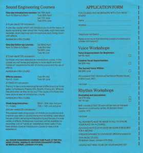 Booking leaflet that includes details of all the courses that take place at the studio