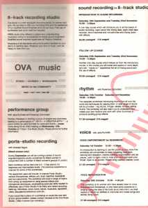 Leaflet that includes details about all the events that take place at the Ova Music Studio.