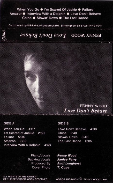 Black and white photo of Penny Wood, track listing of the songs that are included in this entry