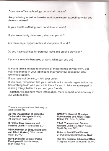 Black and white typed information about employment rights, health and safety issues, equal opportunities, sexual harassment. Encouraging union membership and information about relevant organisations that can help.