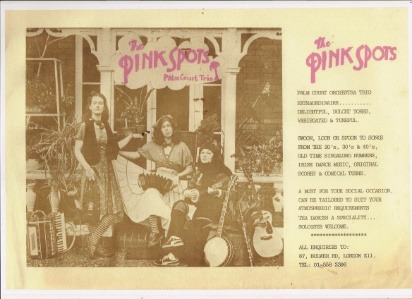 Sepis style photo of Pinkspots. The band are dressed in retro clothes, adorned with their instruments: accordian, banjo, guitar and clarinet. The text says 'Palm Court Trio Extraordinaire. Delightful, dulcet tones, variegated and tuneful.'