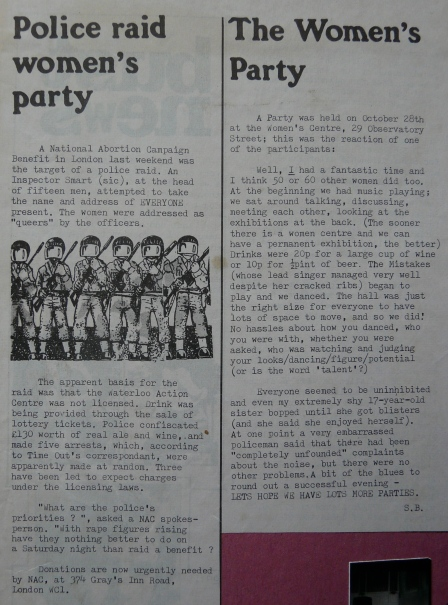 News item with headline 'Police raid women's party.' About the police raid of party for the National Abortion Campaign. The police addressed the women as 'queers.'