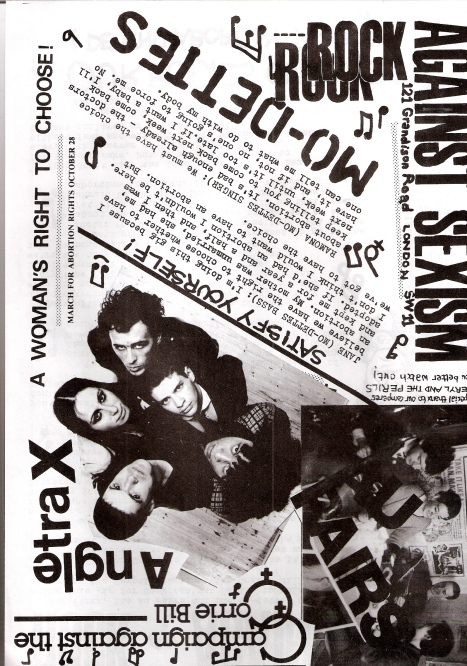 Flyer advertising RAS action at march for abortion rights 28 October 1979: the bands Delta 5, Gang of Four, Mekons and 'assorted feminist superstars' play on bandwagon. Photos of the bands plus statements by the women in them about how strongly they feel  'we must have a choice about abortion.'