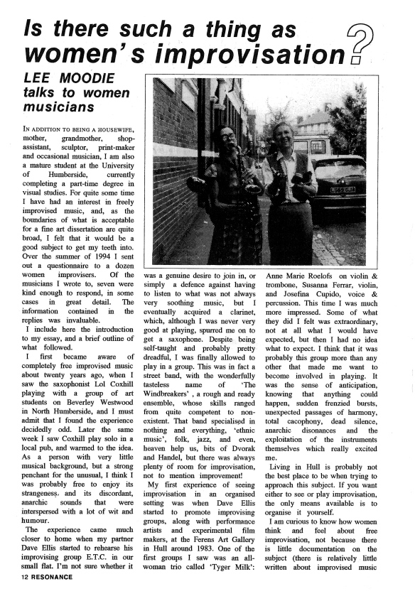 Resonance magazine article: 'Is there such a thing as women's improvisation? Lee Moodie talks to women musicians.' A photo of Maggie and another woman playing saxophone walking down a road toward the photographer and laughing.
