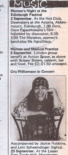 Music listing column includes an ad for a benefit for the Women and Medical Practice Group at Action Space, featuring 'the Scissor Sisters. Cabaret, bar and food. £2/1 unwaged.' Other paragraphs include a Cris Williamson concert, illustrated with a photo of the singer/songwriter smiling.