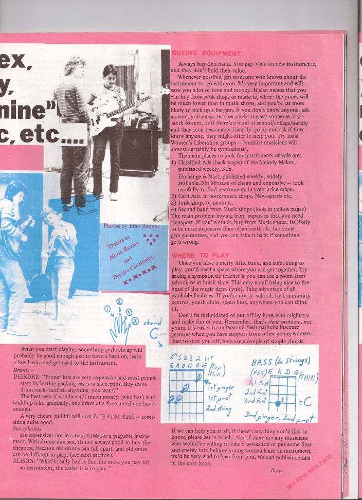 Shocking Pink page 2, includes chord bar diagram of common guitar chords, pictures of women learning to play guitar at workshops.
