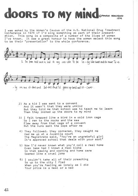 'Doors to My Mind,' a song written and performed by Frankie Armstrong in 1974 for the Women's Caucus of the US National Drug Treatment Conference. Sheet music and lyrics from the Sisters in Song songbook, describing a series of oppressive events in a woman's life leading to drug use.