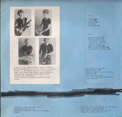 Blue background, four thumbnail black and white images of the band playing their instruments.