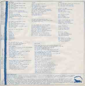 White background, blue type. Song lyrics for the songs on 'Siren Plays.' Includes the Stroppy Cow logo bottom right corner.