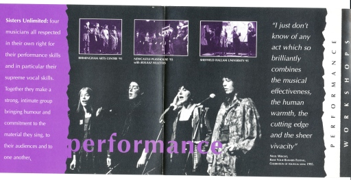 Purple, black and white glossy leaflet. Photos of the group singing and playing, advertising their availability for gigs.
