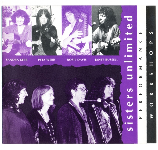 A glossy, bright leaflet in purple, black and white, with the names and photos of the women in Sisters Unlimited playing their instruments and singing.
